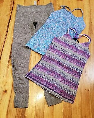 EUC Ivivva girls Size 10 Lot Of 3 Tank Tops Grey Leggings work out activewear