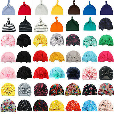 Newborn Baby Girl Boy Turban Bow Cap Beanie India Hat Head Wrap Warmer Sleep Hat