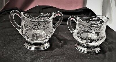 """Cambridge Crystal""""Chantilly-Etched--Creamer And Sugar Set:sterling Based-Mint"""