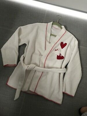 Women Sleepwear Fleece Jacket Gown Night Robe Sz S/10 White Love Hearts