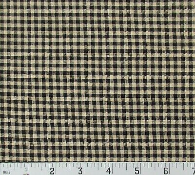 Primitive Homespun Tan Black Checker Cotton Fabric Country Home Rustic BTY