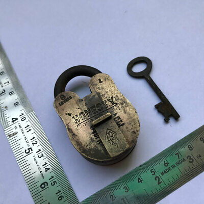 """An old antique solid brass padlock or lock with key """"HONESTY"""""""