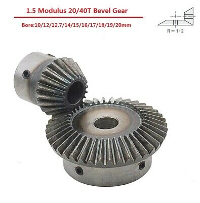 1.5 Modulus Metal Umbrella Gear 20/40T 90° 1:2 Pairing Bevel Gear Bore10-20mm