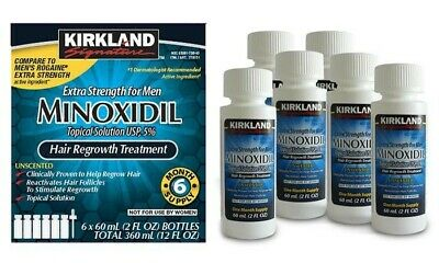 Kirkland Minoxidil 5% Extra Strength Men 6 Month Supply Hair Regrowth Solution.