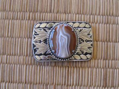 Vintage-Silver-Tone-Belt-Buckle-with-Agate