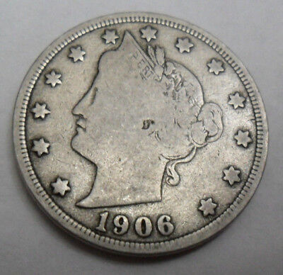 """1906 P Liberty Head """"V"""" Nickel  *Ag Or Better*  **Free Shipping**"""