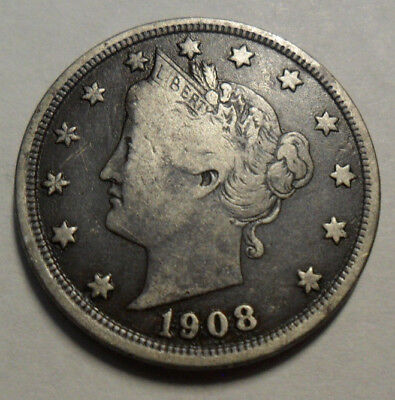 """1908 P Liberty Head """"V"""" Nickel  *Ag Or Better*  **Free Shipping**"""