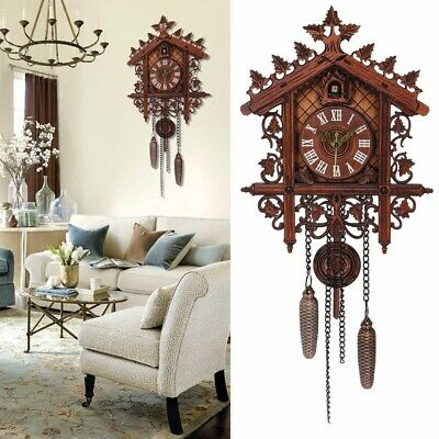 Cuckoo Bird Clock House Wall Hanging Antique Clock Art Vintage Wooden Home Decor