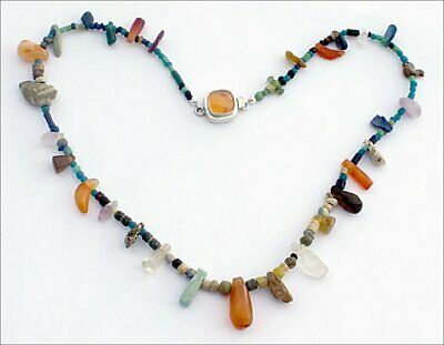 Ancient Roman Islamic Stones and Glass Bead Necklace