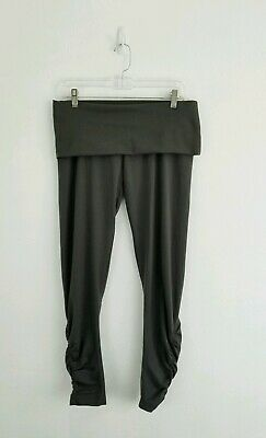646509ee7a460 ADIDAS STELLA MCCARTNEY Women's Fold Waist Yoga Pants Ankle Ruched Gray  Size 10
