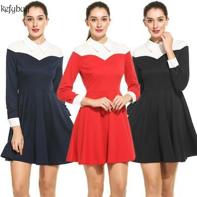 Women Casual Doll Collar Long Sleeve Contrast Color Patchwork A-Line KFBY