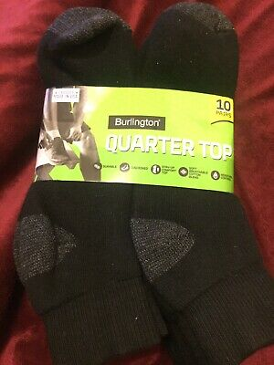 Burlington Men's Cotton Quarter Socks Comfort Power 10-Pack Black Shoe Size 6-12