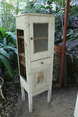 Vintage Food / Meat Safe with Rippled Glass Door ~ Tall Narrow Timber Cupboard