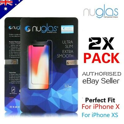 2 x GENUINE NUGLAS Tempered Glass Screen Protector For Apple iPhone X / XS