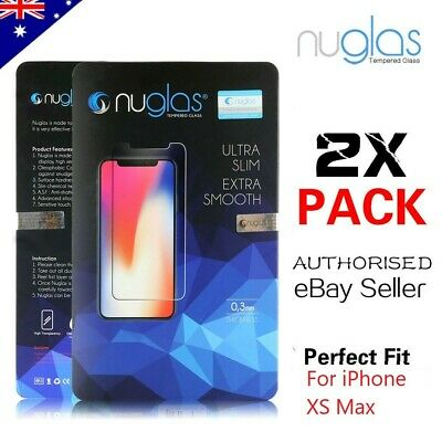 2 x GENUINE NUGLAS Tempered Glass Screen Protector For Apple iPhone XS MAX