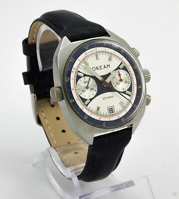 Ocean Okean Poljot 31659 USSR men's mechanical navy wrist watch chronograph 23 J