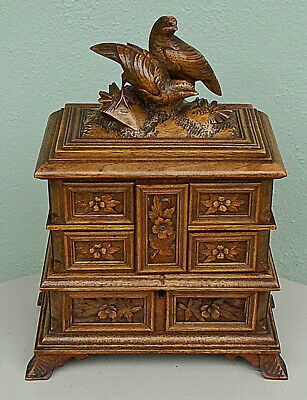 ANTIQUE BLACK FOREST CARVED TALL JEWELLERY BOX CASKET c.1890
