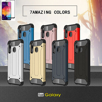 Full Cover Armor Case With Tempered Glass For Samsung Galaxy A10 A30 A40 A50 A70