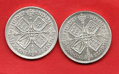 2 X George V Silver Florin Coins Dated 1935 & 1936. Two Shillings In Nice Grade.