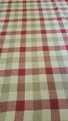 Designer linen upholstery fabric Gower check Art of The Loom cream lilac
