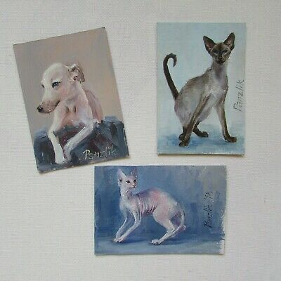 Hand painted ACEO Original Art Card Miniature Animal Pussy Kitten pet Home Cat