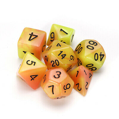 7 Pcs Luminous Polyhedral Dices Multisided Dices Dice Set With Dice Cup For RPG