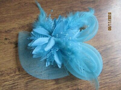 NEW TURQUOISE BEADED Net Loop And Feather Facinator MOTHER OF BRIDE