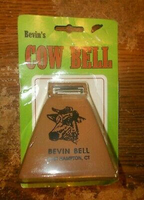 bevins 3 inch gold tone steel cow bell in the package new
