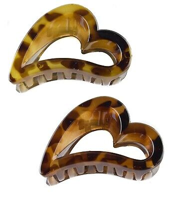 Set Of 3 Tort Brown Large Hair Claw Clip Clamp Grip Open Heart  Fancy Jaw  Clip