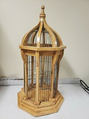 Vtg Bird Cage Wood Wire OCTAGON TALL Domed Arch Roof Spring-Shut Door Finial
