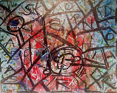 Abstract Neo Expressionist Urban Painting 16 X 20 LW Jeffrey