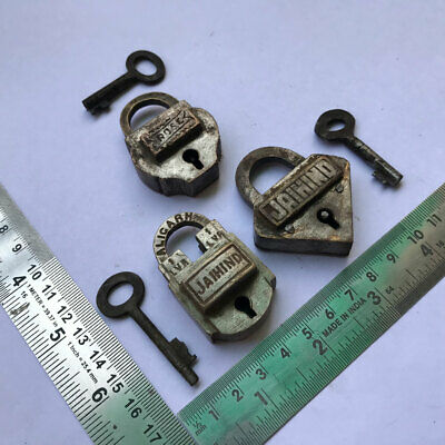Old antique solid brass padlock lock with key small or miniature 3 pieces lot.