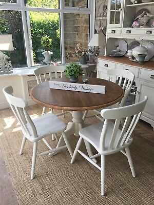 """A Round 39"""" Oak Dining Table And 4 Chairs~Farrow & Ball~Painted~Shabby Chic"""
