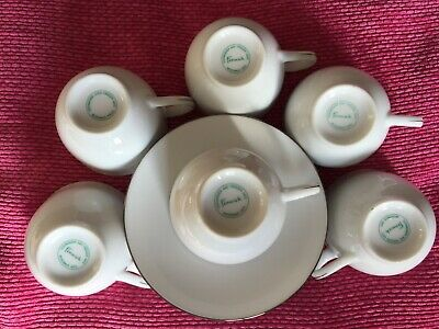 6 coffee cups + saucers FENWICK white procelain with platinium  band