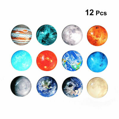 12pcs Refrigerator Magnets Decorative Glass Round Fridge Magnets for Office Home