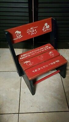 Vintage Disney Wood Childs Step Stool Converts to  Bench Mickey Donald Goofy