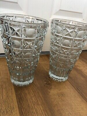 Pair of (2x) Tall Cut Glass Vases Vintage Naughts Crosses