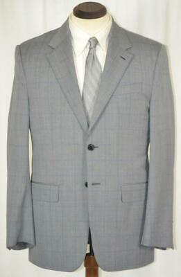 NEW $2295 VALENTINO TAILORING Wool & Silk Flat Front Grey Glen Plaid SUIT 40 R