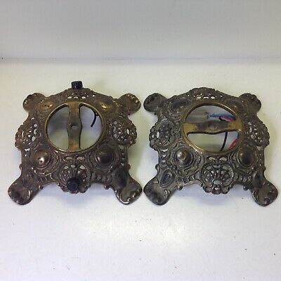 2 antique fancy cast iron oil lamp bases drilled GWTW Banquet Parlor parts