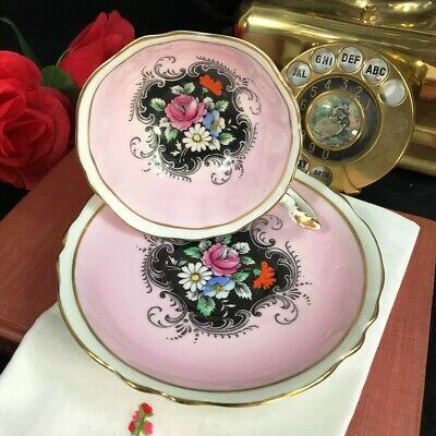 1940s Pink Paragon Double Warrant Black Floral Bouquet Cup and Saucer A53/4