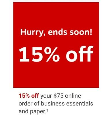 STAPLES C0UPON 15% off $75 PROMO DISCOUNT CODE ONLINE PHONE ORDER FAST not 25 5