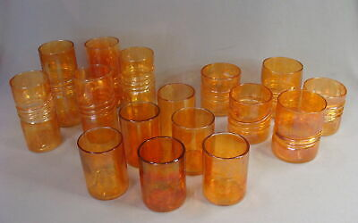 Signed Esteban Prieto Set of 16 Iridescent Orange Art Glass Tumblers