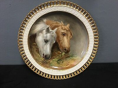 19Th Century Minton Porcelain Cabinet Plate With Hand Painted Horses