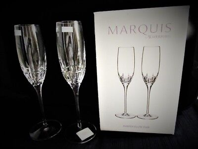 Pair Waterford Cut Crystal Marquis Harper Champagne Flutes New
