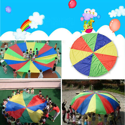 6.5ft Rainbow Parachute Kids Play Outdoor Game Exercise Fun Group Sport Toy Gift
