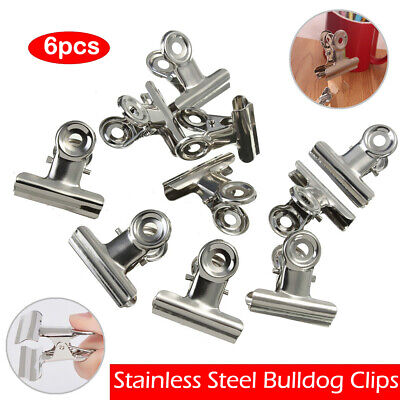 Stainless Steel Silver Grip Clip Letters Binder Paper Clamp Bulldog Clips Office