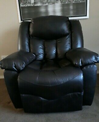Oversized Brown Costco Rocking Recliner Thick Faux Leather Excellent Condition