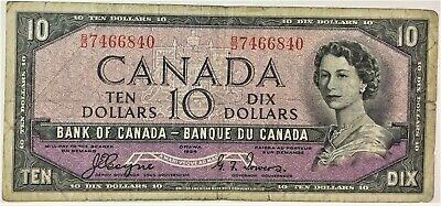 1954 Bank of Canada $10 Devils Face  Banknote  B/D Prefix - #35596