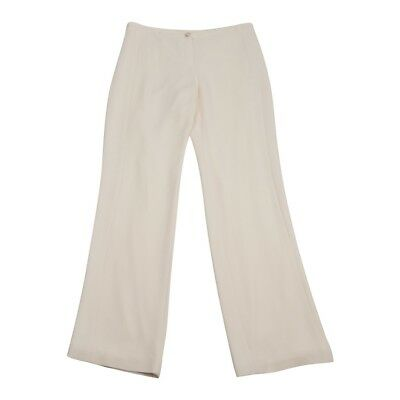 Chanel 07P Pant Creme Silk Silver and Creme CC Button 42 / 10