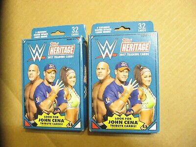 2 TOPPS HERITAGE 2017 Hanger Box Of 32 WWE WRESTLING Trading Cards Relics Autos